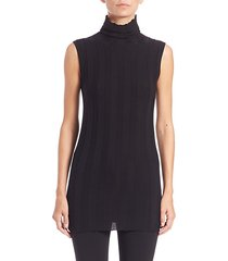 ribbed sleeveless turtleneck top