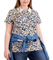 tommy hilfiger plus size floral-print polo shirt