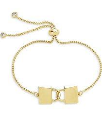 goldplated & cubic zirconia interlocking lock bolo bracelet