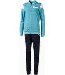 poly girls' track suit, blauw, maat 116 | puma