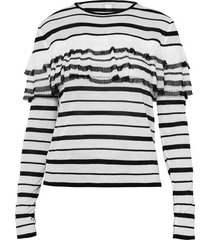 striped ruffle knit pullover top
