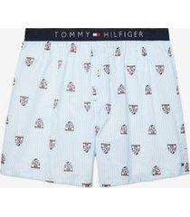 tommy hilfiger men's crest print woven boxer crest print/white stripe - xxl
