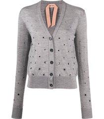 nº21 crystal-embellished cardigan - grey