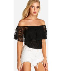 black backless design off the shoulder short sleeves lace top