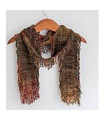 rayon chenille scarf, 'pacaya volcano' (guatemala)