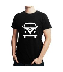 camiseta criativa urbana kombi carro clássico preto
