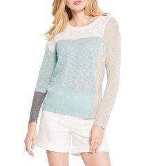 women's nic+zoe block party slub sweater, size xx-large - blue/green