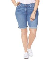 plus size women's nydj briella roll cuff stretch denim shorts, size 16w - blue