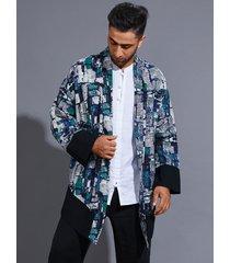 abrigo de protección solar casual para hombre, cárdigan de bloque de color con estampado completo