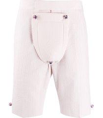 thom browne seersucker backstrap shorts - pink