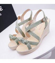 cuña de verano casual sandalias coreanas para mujeres ancho ancho