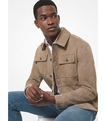 mk giacca a camicia in pelle scamosciata - cachi (naturale) - michael kors
