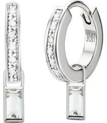 skinny diamond huggie earrings and rock crystal baguette ear charm set