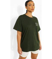 oversized katoenen t-shirt met kleine tekst, green
