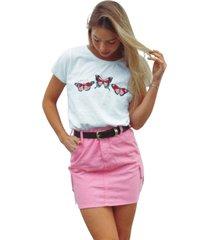 blusa in love t-shirt butterfly branca - branco - feminino - algodã£o - dafiti