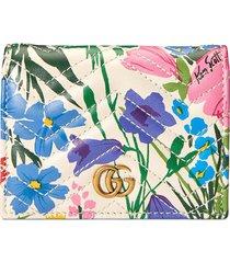 gucci x ken scott floral print gg card case wallet - white