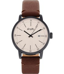 simplify quartz the 2500 genuine brown leather watch 42mm