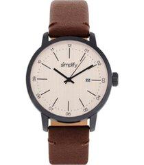 simplify quartz the 2500 genuine brown leather watch 42mm
