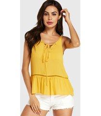 yoins amarillo hueco diseño camisola con cuello en v y cordones