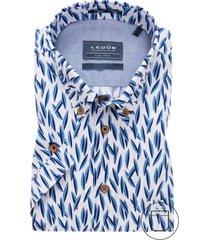 ledub korte mouwen overhemd modern fit blauw