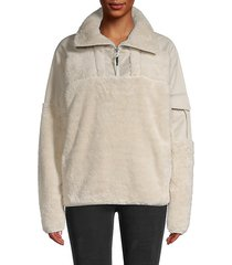 logo faux shearling pullover