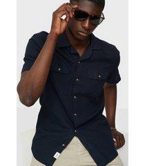 only & sons onsandrew ss reg waffle solid shirt skjortor mörk blå