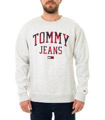 tommy hilfiger felpa uomo tommy jeans tjm plaid tommy graphic crew dm0dm09429.pj4