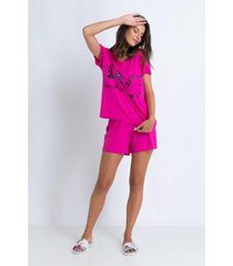 conjunto de pijama acuo curto viscose de malha feminino