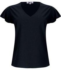 blusa unicolor cuello v color negro, talla xs