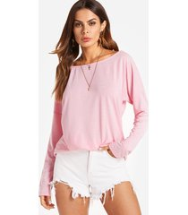 cutout round neck backless hollow details t-shirts in pink