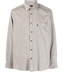 boss hugo boss long-sleeve corduroy shirt - grey
