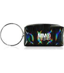 mm6 maison martin margiela black patent clutch w/metal handle