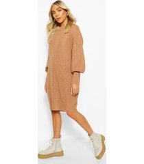 extreme oversized crew neck knitted dress, camel
