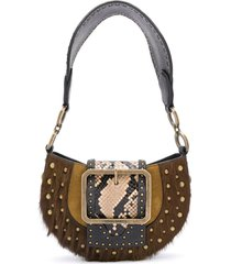 dsquared2 oversized buckle detail shoulder bag - brown