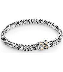 dot 18k yellow gold & sterling silver oval chain bracelet