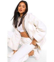 oversized faux fur teddy jas, ecru