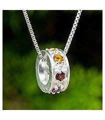 multigemstone chakra pendant necklace, 'chakra honor cycle' (thailand)