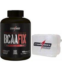 bcaa fix darkness 400tablets + porta cápsula - integralmedica