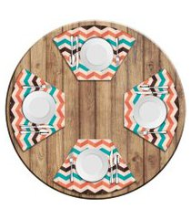 jogo americano love decor  para mesa redonda wevans listras geométricas kit com 4 pçs