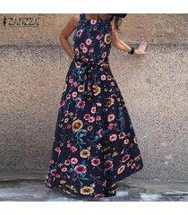 zanzea vestido de cóctel sin mangas con estampado floral para mujer vestido largo para mujer kaftan -azul marino