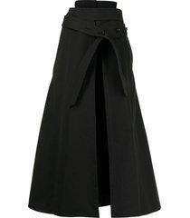 lemaire button-strap midi skirt - black