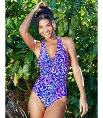 fiesta non wired halter plunge tummy control one-piece swimsuit
