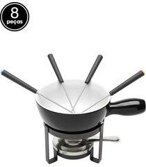 aparelho de fondue 8pçs para queijo de ferro cerâmica preto lyor
