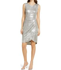 women's connected apparel metallic knit side ruched dress, size 4 - metallic