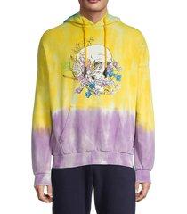 eleven paris men's dip-dye skull graphic hoodie - yellow - size m