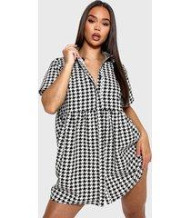 vestido missguided shirt smock dress houndstooth blanco/ negro - calce oversize