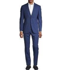 saks fifth avenue men's pinstriped wool suit - blue - size 40 s