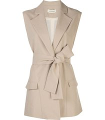 nicholas belted tailored waistcoat - neutrals