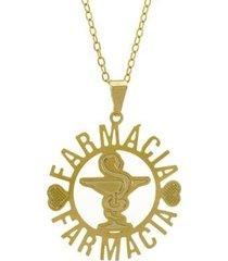 gargantilha horus import farmácia banhada ouro 18k feminina