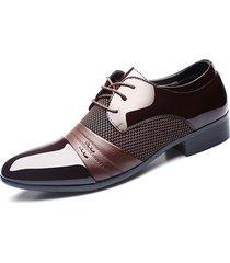 uomo scarpe blucher a punta formali da business con lacci a taglia grande